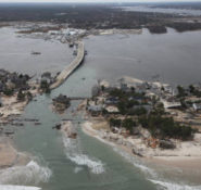 Aerial view of some of the flood damage caused by Hurricane Sandy