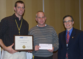 ASCE President Gregory E. DiLoreto presents St. Louis Section Treasurer Michael T. Buechter and St. Louis Section Secretary Matt Harper with the Outstanding Section and Branch Award