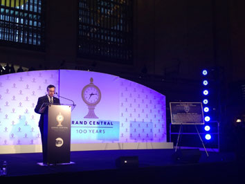 At the Grand Central Terminal Rededication Ceremony in New York City, ASCE President Gregory E. DiLoreto, P.E., F.ASCE, unveiled the ASCE Historic Civil Engineering Landmark plaque
