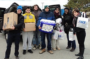 During their Thanksgiving relief drive, 25 students from the ASCE chapter at the New York City College of Technology raised more than $250 and collected hundreds of items for residents of Breezy Point, a community in Queens that was badly damaged by Hurricane Sandy