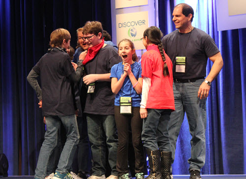 Members of the West Ridge Middle School team react after learning that they'd earned first place in the Future City Competition finals.