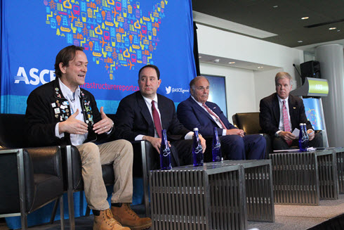 George Hawkins, CEO of DC Water, speaks during a panel discussion at the release event for the 2017 Infrastructure Report Card. He's joined by, from left, Drew Greenblatt, CEO of Marlin Steel Wire, former Pennsylvania governor Ed Rendell, and ASCE's Casey Dinges.