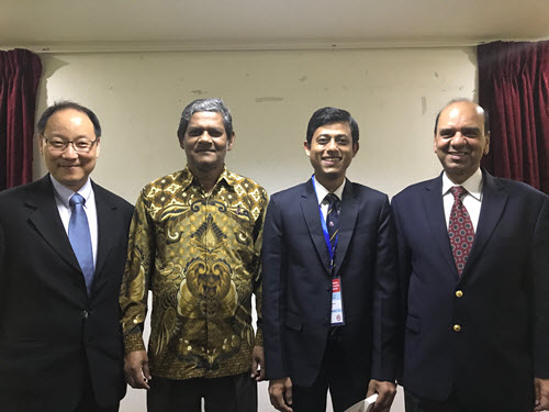 Ariful Hasnat presented to the ACECC as part of the Future Leader Forum. Pictured, from left, Ed Wang, president Taiwan Group, Didarul Alam, president Bangladesh Section, Hasnat, Udai Singh, ASCE representative to ACECC.