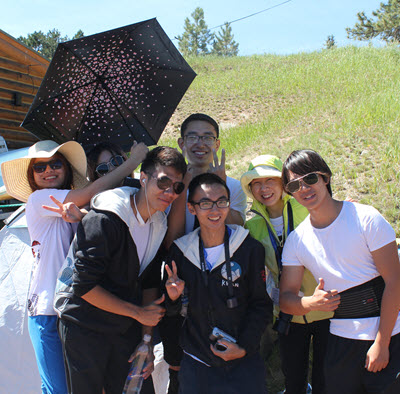 Members of the Tongji canoe team enjoy Race Day.