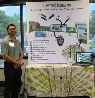 "Innovation Contest honoree Andrew  Cardella, EIT, A.M.ASCE, showcased his ""Living Greens: Harnessing Available Nutrients from Wastewater Treatment"" innovation in the exhibit hall."