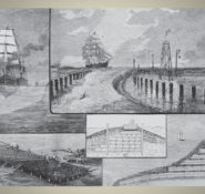Inset from Harper's Weekly illustration explaining Eads' jetties