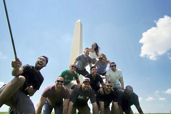 The ASCE Younger Members build their own monument on the National Mall. PHOTO: Jaffer Almosawy