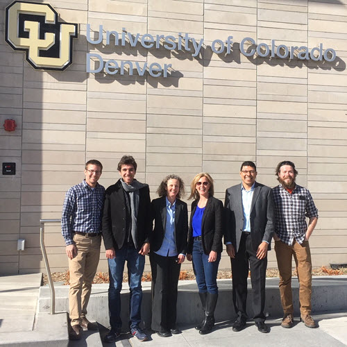 PHOTO: President Kristina Swallow with lecture attendees at the University of Colorado Denver