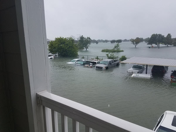 View of flooding from Andrew Wells' Port Arthur apartment.