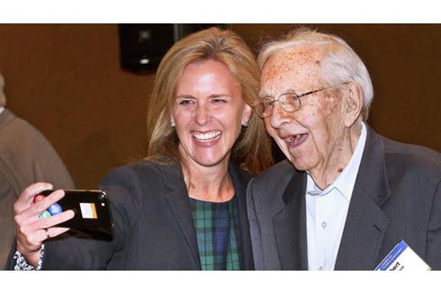ASCE President Kristina Swallow takes selfie with Robert Rhode.