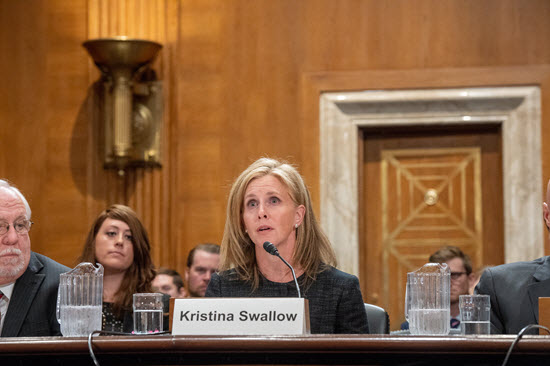 Photo of Kristina Swallow testifying in Congress