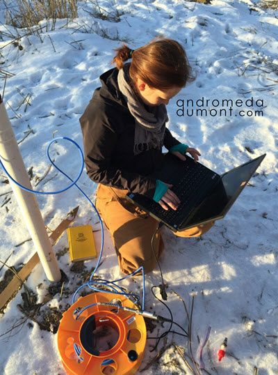Photo of Andrea DuMont in the field working