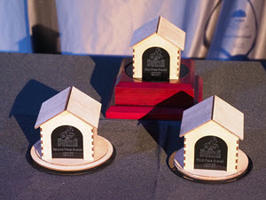 Doghouse trophies for the ASCE Sustainable Solutions Competition.
