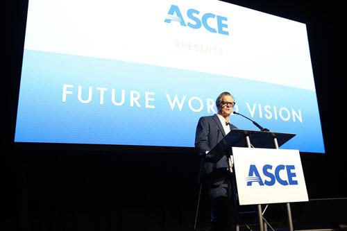 photo of man at a podium