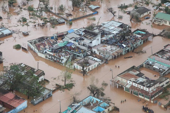 aerial photo of flooded community