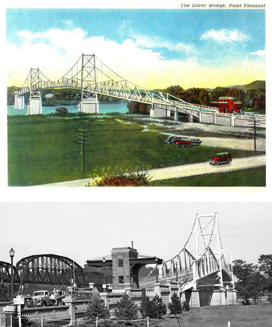 old postcard of Silver Bridge