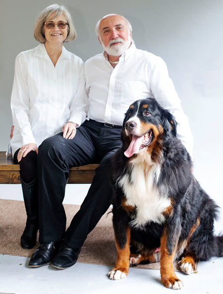 photo of Dennis Truax with his wife, Jeanie, and their dog