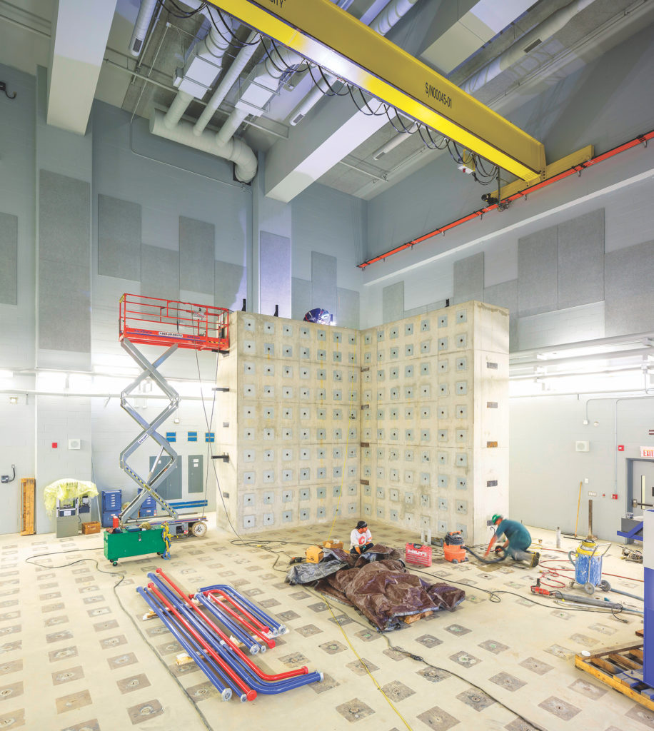 photo of walls and floor of the High Bay Lab under construction