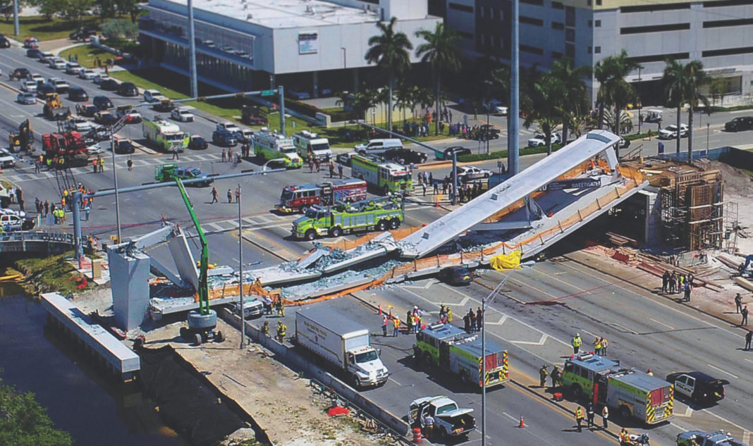 photo of collapsed under-construction pedestrian bridge in Miami
