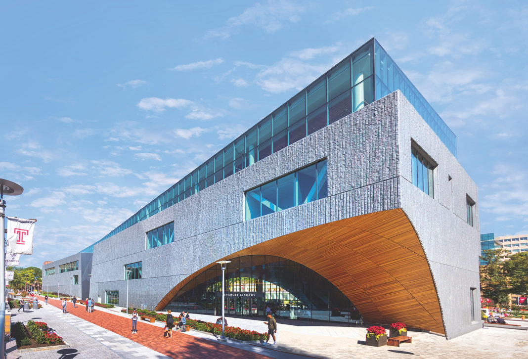 Exterior shot of the Charles Library at Temple University