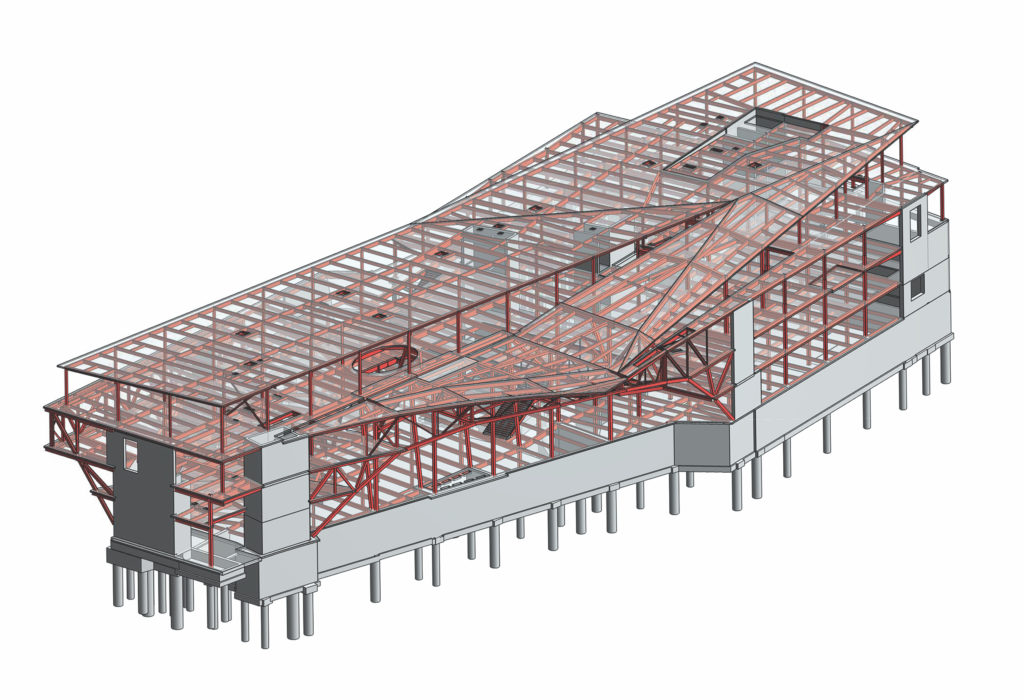 structural steel model of Charles Library at Temple University
