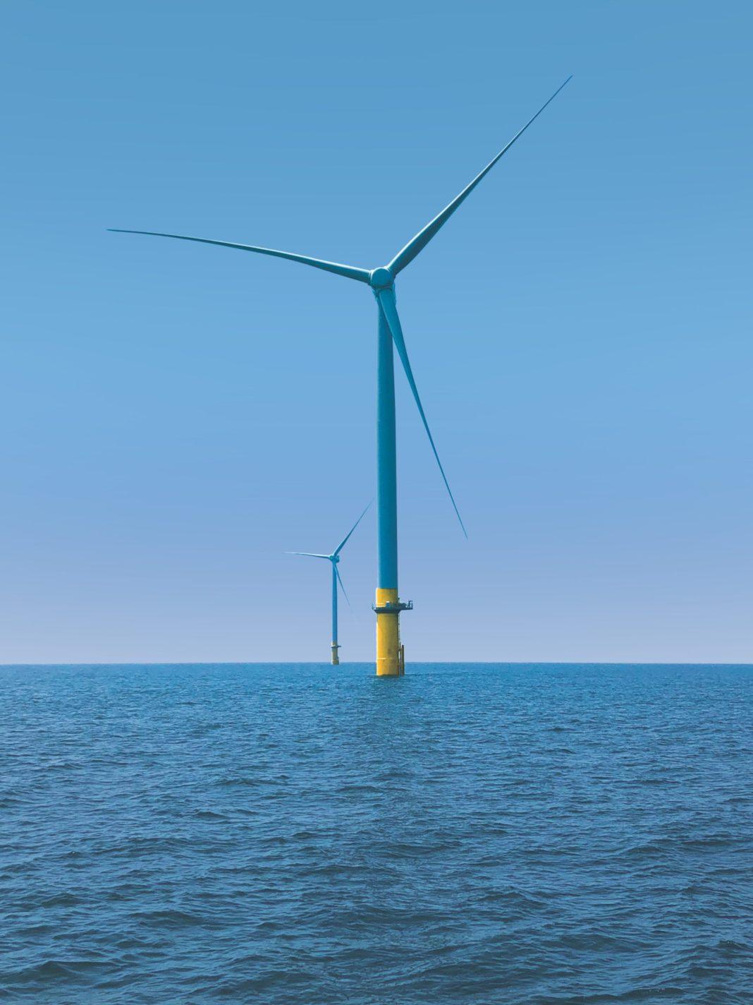wind turbines off the coast of Virginia Beach, Virginia, in the Atlantic Ocean