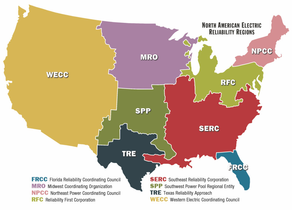 colorful map of the United States depicting the North American electric reliability regions