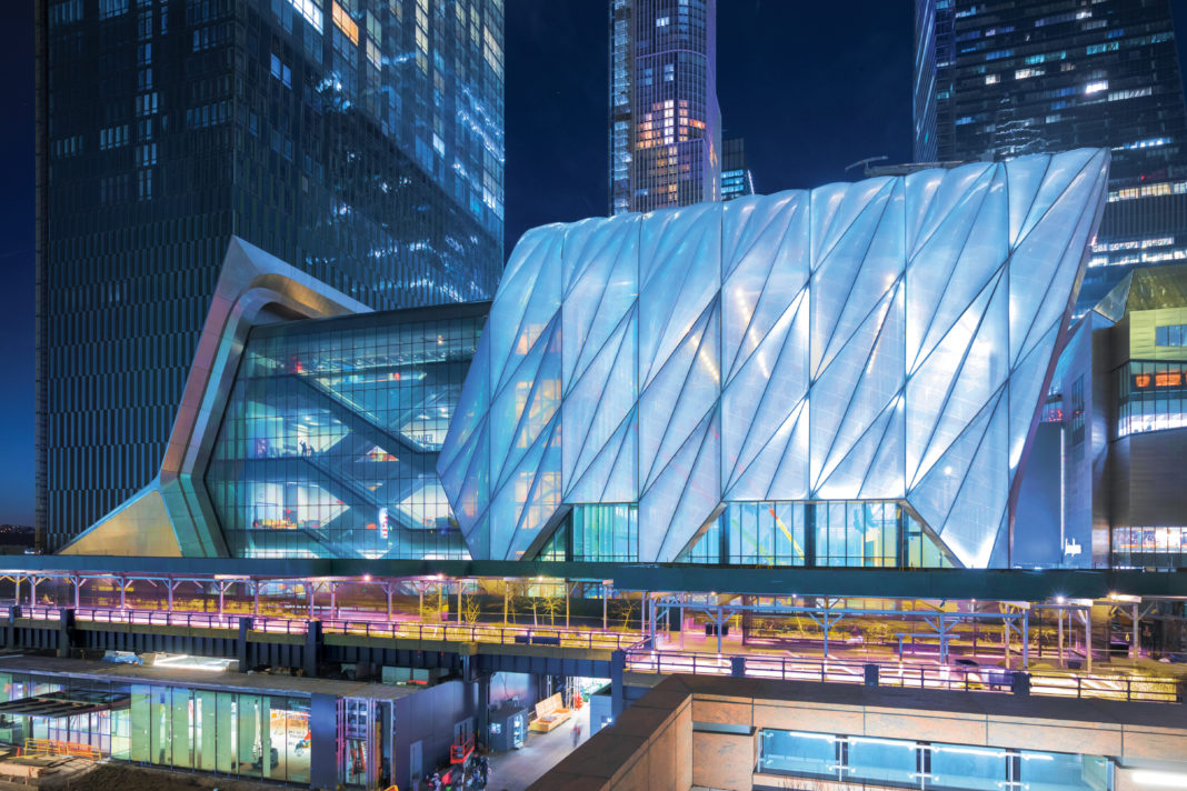 night shot of The Shed in Hudson Yards in New York City