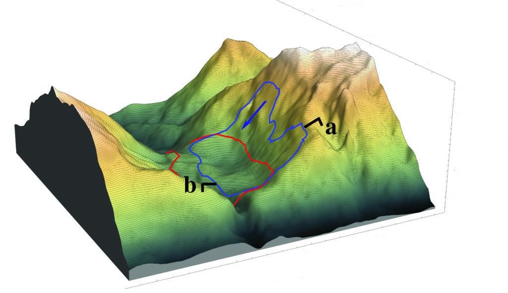 model of the Vajoint landslide depicting landslide positions