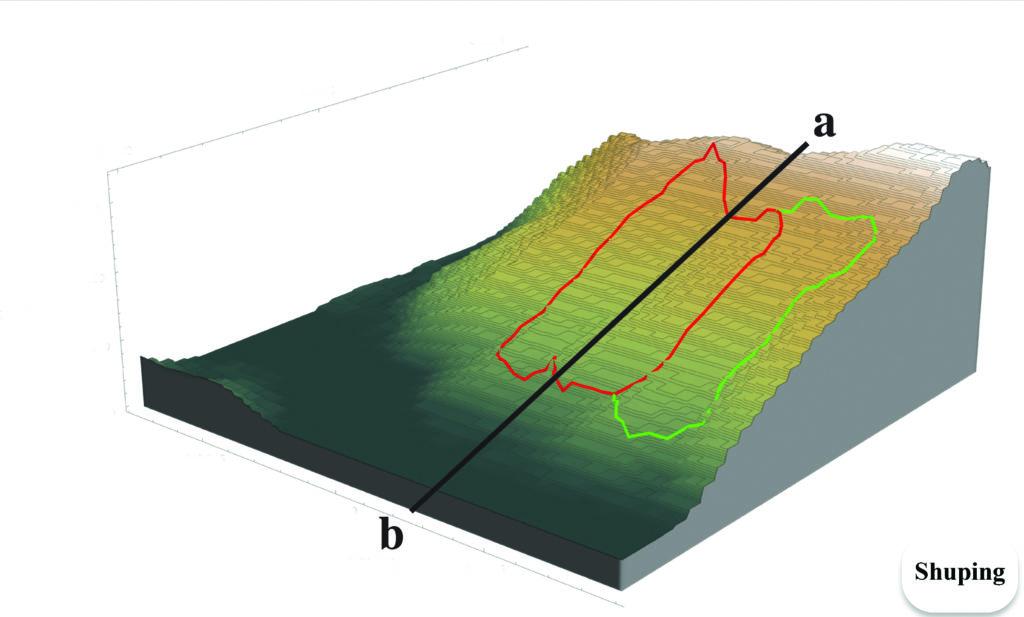 model of the Shuping landslide depicting landslide locations