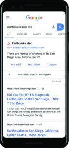 screenshot of sample earthquake alert on google