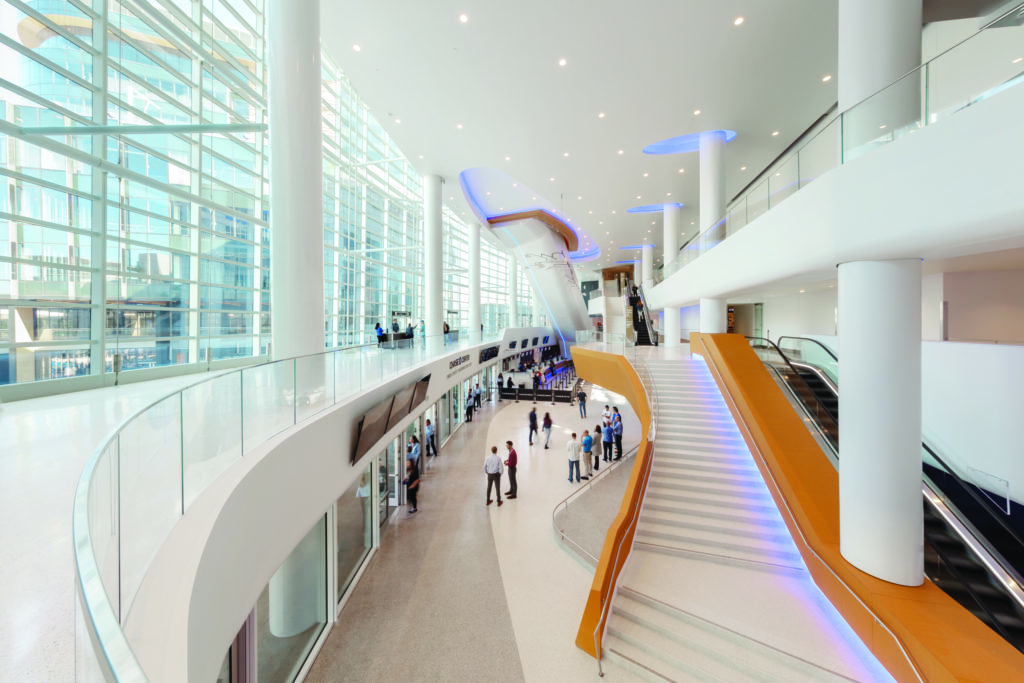 atrium lobby of the chase center