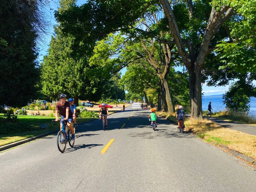 bicyclists using a lake front road in the sun
