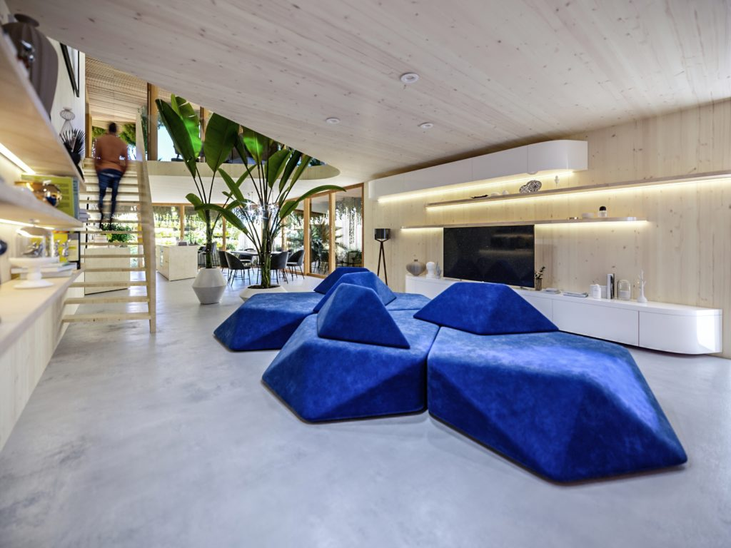 a geometrical blue seating area in a white interior
