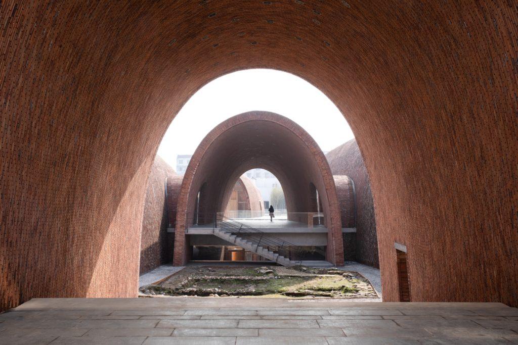 view from amphitheater across a sunken courtyard