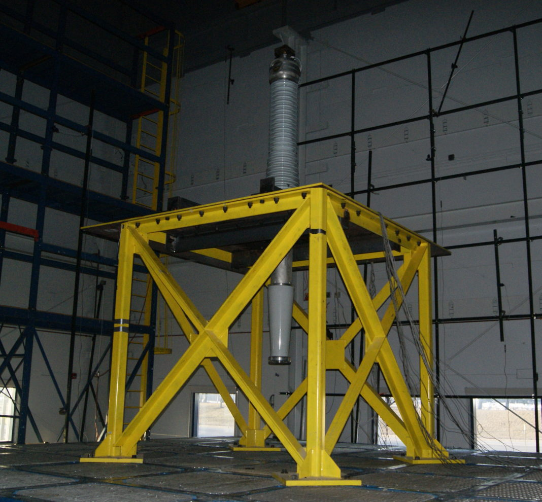 yellow steel structure with x reinforcing