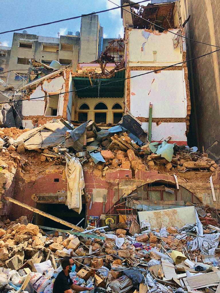 damaged building from the Beirut explosion