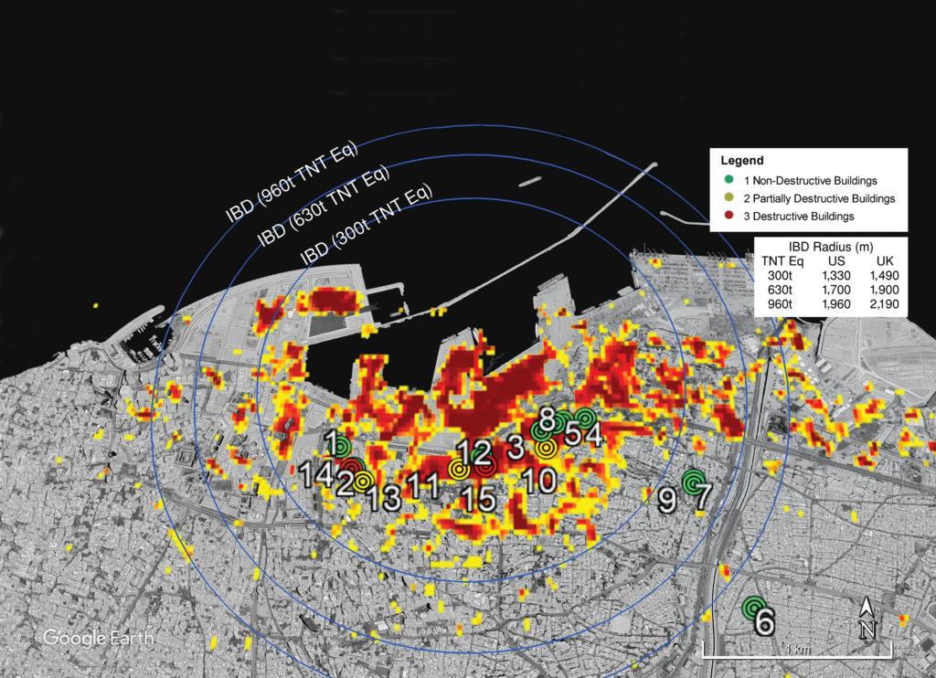 google earth image of Beirut blast building damage assessment