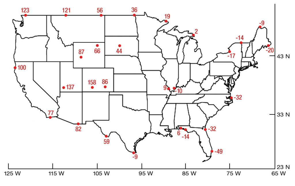 map of the US showing NAVD 88 and NGVD 29 vertical datums