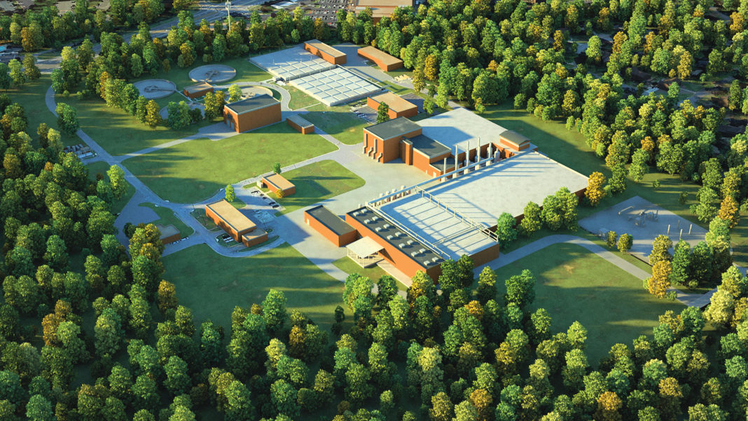 rendering of the Big Creek Water Reclamation Facility in Roswell, Georgia