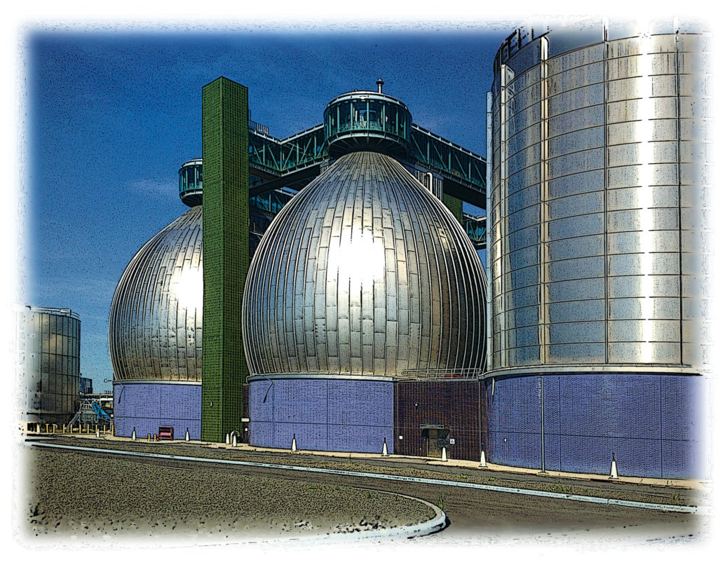 photo of egg-shaped digesters at a wastewater treatment plant