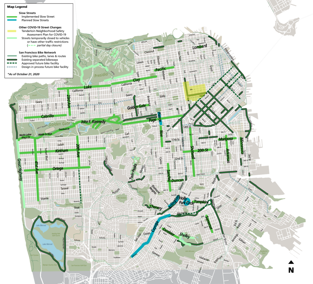 maps of San Francisco streets with slow street shown in green
