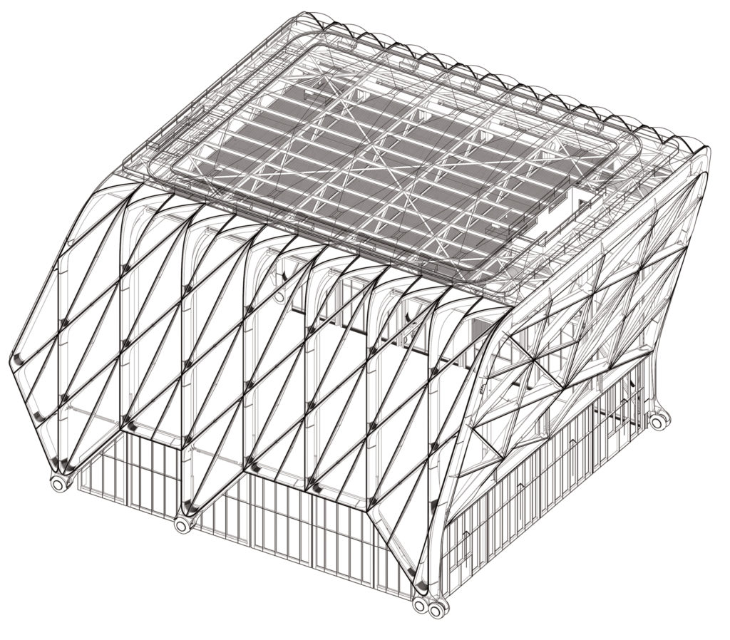 image shows the axonometric view of the shed's moving shell