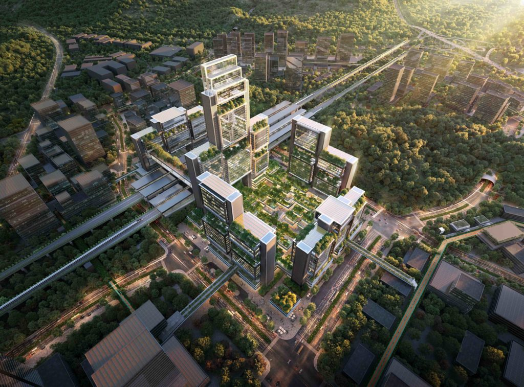 aerial rendering of the plaza, towers, and high speed rail lines in golden sunlight