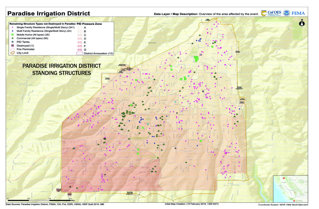 map of the Paradise Irrigation District standing structures after the Nov. 2018 Camp Fire