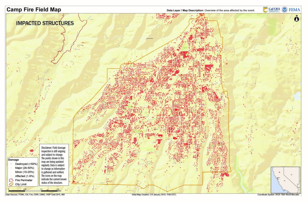 map of the impacted structures caused by the November 2018 Camp Fire in Paradise, California