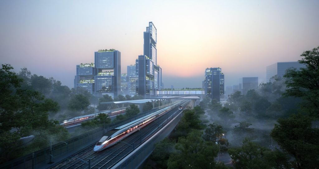 a high speed rail train pulling away from the towers at dusk