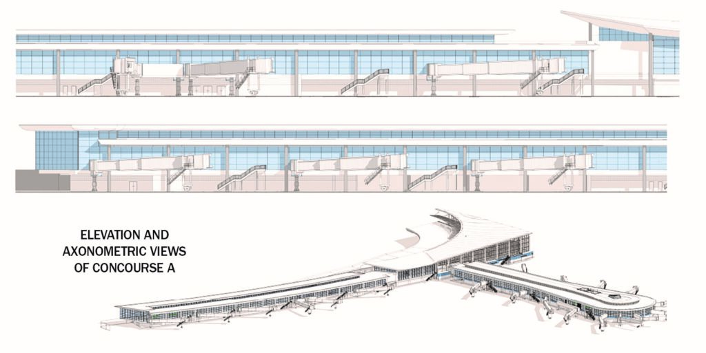 elevation and axonometric views of the new Concourse A of the Louis Armstrong New Orleans International Airport