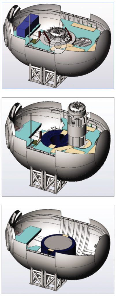 reactor containment vessel showing parts removed