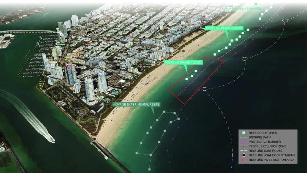 aerial via of beach and sea with diagrams of artificial reef locations